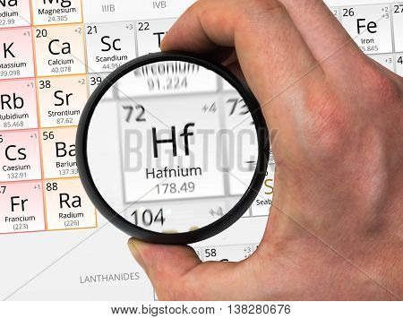 Hafnium Symbol - Hf. Element Of The Periodic Table Zoomed With M