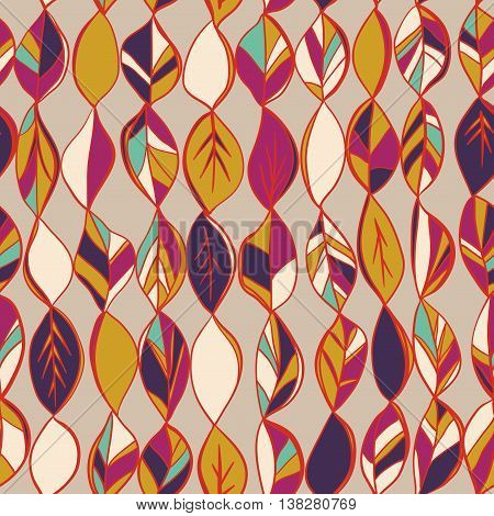 Seamless pattern with colored autumn leaves on a dark background. Seamless pattern can be used for pattern fills surface textures.