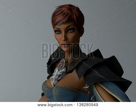 3d illustration of a portrait of mulatto young woman wearing midages clothing
