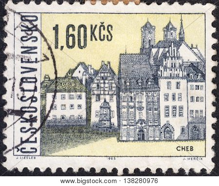 MOSCOW RUSSIA - JANUARY 2016: a post stamp printed in CZECHOSLOVAKIA shows views of Cheb town the series