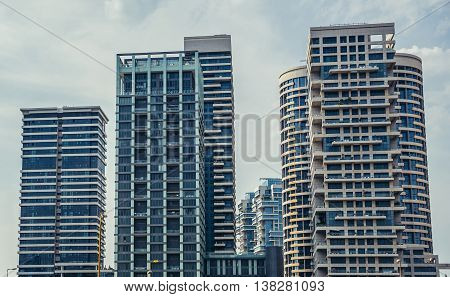 Tel Aviv Israel - October 18 2015. Residential skyscrapers in Tzameret Park area in Tel Aviv