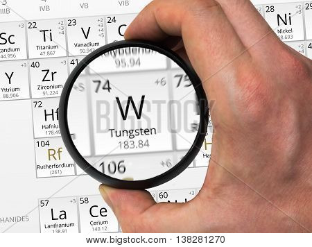 Tungsten Symbol - W. Element Of The Periodic Table Zoomed With M