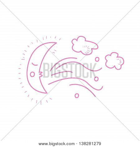 Moon Crescent Blowing The Wind Hand Drawn Childish Illustration In Funny Comic Style On White Background