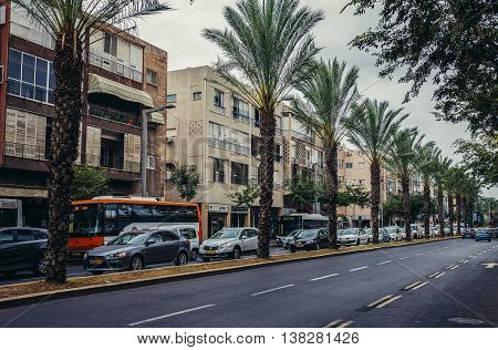Tel Aviv Israel - October 19 2015. Traffica jam on the street in Tel Aviv