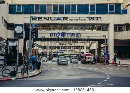 Tel Aviv Israel - October 19 2015. Street beneath Dizengoff Shopping Centre in Tel Aviv