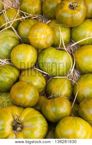 Fresh heirloom tomatoes  in the market of south France