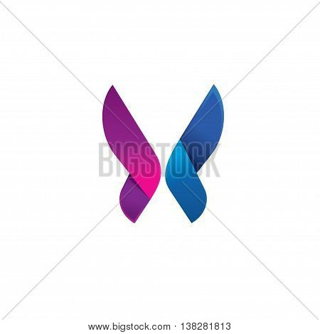 Purple butterfly logo modern beauty vector brand, abstract red butterfly gradient shape. Beautiful creative vector butterfly logotype, icon design for business card, brand or identity