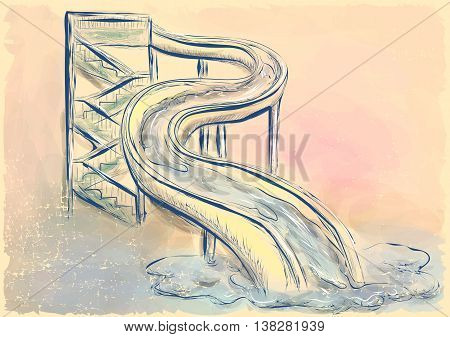 water slide. abstract image with aquapark theme