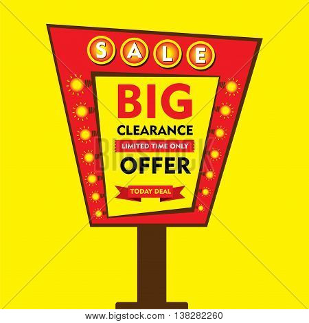 big clearance offer, limited time sale hoarding style banner design vector