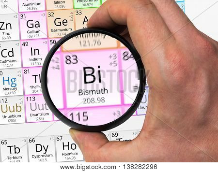 Bismuth Symbol - Bi. Element Of The Periodic Table Zoomed With M