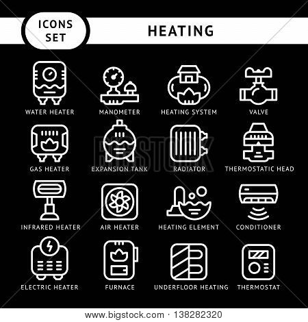 Set line icons of heating isolated on black. Vector illustration