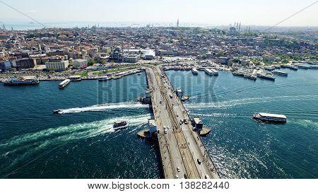 Aerial view of beautiful Istanbul Galata Bridge