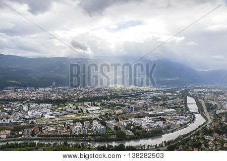 Panoramic Aerial View Of Grenoble City, France