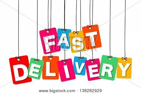 Vector colorful hanging cardboard. Tags - fast delivery on white background