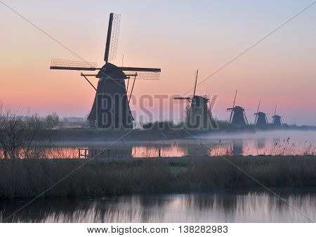 the famous Windmills of Kinderdijk near Rotterdam in Southern Holland,Netherlands,Benelux