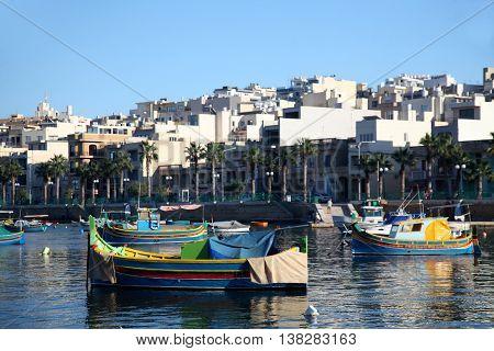 Traditional Fishing Boats in Marsascala Bay, Malta