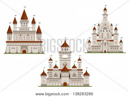 Medieval royal castle or fort, palace or stronghold with towers and archs, gates and flags on spires. Cartoon flat style buildings isolated on white for fairytale, history or childish books design