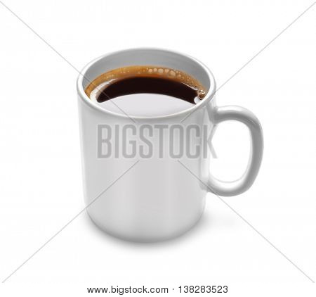 White cup of coffee, isolated on white