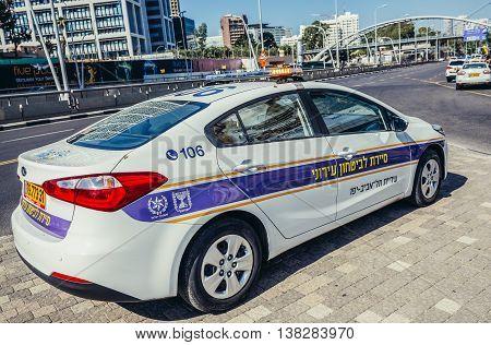 Tel Aviv Israel - October 21 2015. Police car parked on pavement in Tel Aviv