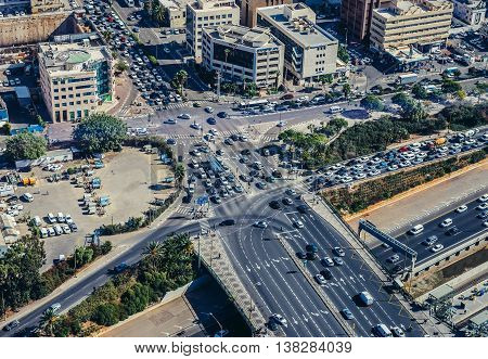 Tel Aviv Israel - October 21 2015. Aerial view on Shalom Bridge from one of the towers of Azrieli Center complex of three skyscrapers in Tel Aviv