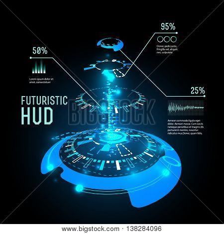 vector  illustration of Futuristic interface infographics, HUD,  vector background