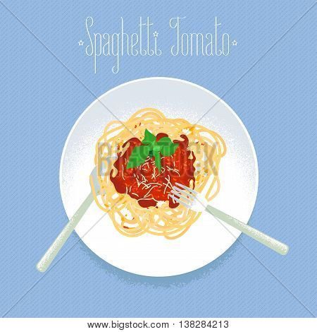Spaghetti tomato Italian pasta vector design element for restaurant menu poster. Traditional Italian vegetarian dish spagetti served for lunch or brunch illustration
