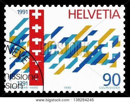 SWITZERLAND - CIRCA 1990 : Cancelled postage stamp printed by Switzerland, that shows Symbolic depiction of 700 years Swiss Confederation.