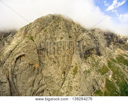 Aerial Photo. The Top Of The Mountain Pshekha Su Hidden In The Clouds. Caucasus Nature Reserve. Cauc
