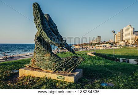 Tel Aviv Israel - October 21 2015. Statue created by Ilana Goor in small park in Tel Aviv