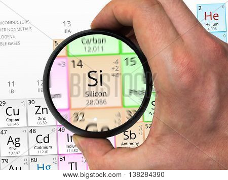 Silicon Symbol - Si. Element Of The Periodic Table Zoomed With M