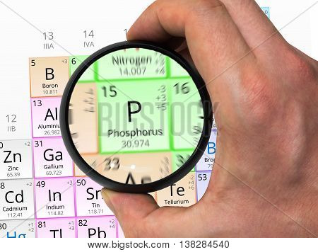 Phosphorus Symbol - P. Element Of The Periodic Table Zoomed With