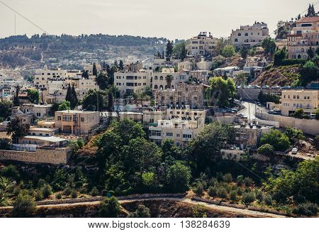 Jerusalem Israel - October 22 2015. Aerial view of houses on one of the hills close to the Old Town of Jerusalem