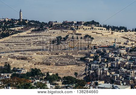 Jerusalem Israel - October 22 2015. Aerial view of Jewish Cemetery on the Mount of Olives includes the Silwan necropolis in Jerusalem