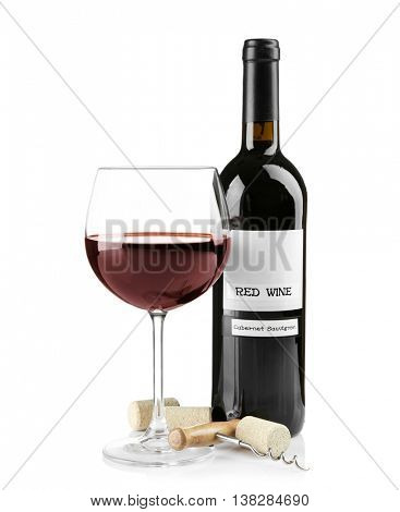 Red wine with corks, isolated on white