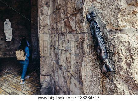 Jerusalem Israel - October 22 2015. Mezuzah case on Zion Gate entrance to Jewish Quarter in Jerusalem