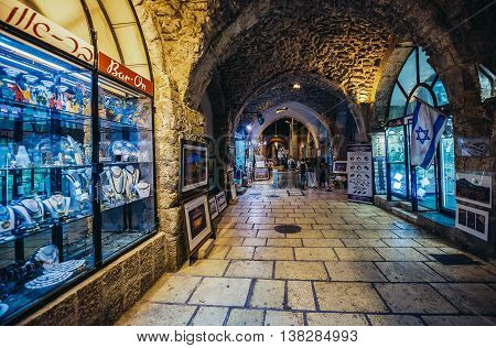 Jerusalem Israel - October 22 2015. North-south-oriented ancient street called Cardo renovated and covered with the arched roof in Jerusalem