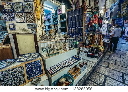 Jerusalem Israel - October 22 2015. Souvenirs for sale on north-south-oriented ancient street called Cardo renovated and covered with the arched roof in Jerusalem