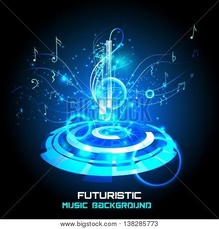 Abstract shiny musical note on blue background. futuristic vector.