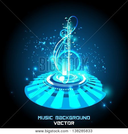 Abstract shiny musical notes on techno background. futuristic vector.
