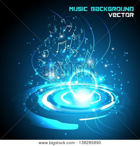 Abstract shiny musical notes on blue background. futuristic vector.