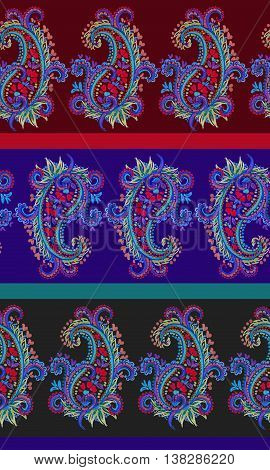 seamless paisley pattern with horizontal stripes. Dramatic dark traditional spicy colors. Very intricate drawing of lace like paisleys.