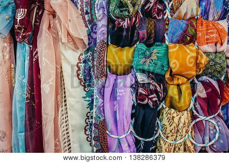 Jerusalem Israel - October 22 2015. Orient scarfs for sale on Arab baazar located inside the walls of the Old City of Jerusalem