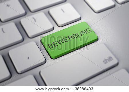 Close Up View On Conceptual Keyboard - Bewerbung Green Key