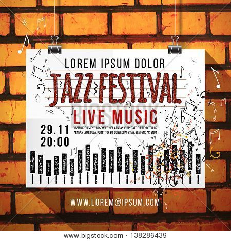Vector design of Jazz music festival, poster background template. keyboard with music notes. brick wall, background, texture, keyboard, text.