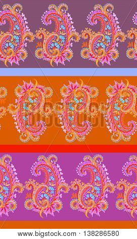 very colorful neon pink and orange paisleys, seamless paisleys pattern, beautiful horizontal ornate lace design. hand drawn artistic watercolor paisleys.