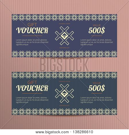 Gift voucher with elegant design. Gift card template. Coupon discount set. Voucher vector design. Coupon template with concept for jewelry promo.