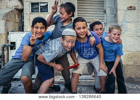 Jerusalem Israel - October 22 2015. Jewish boys poses for photo in Jerusalem city