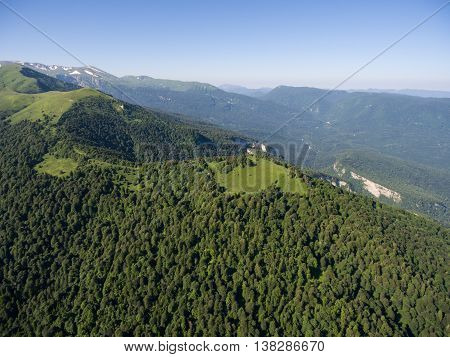 Aerial Photos. The Mountain Ridge Covered  Forest. Mountain Landscape.