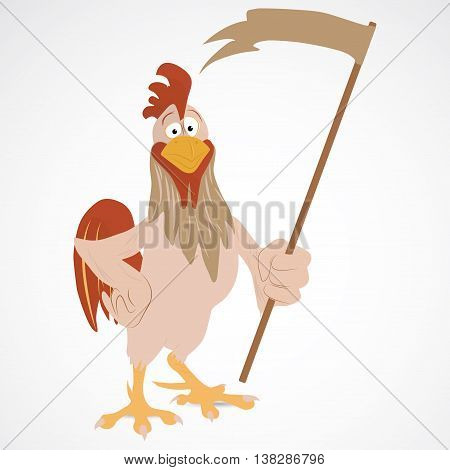 Cartoon funny rooster on the gray background
