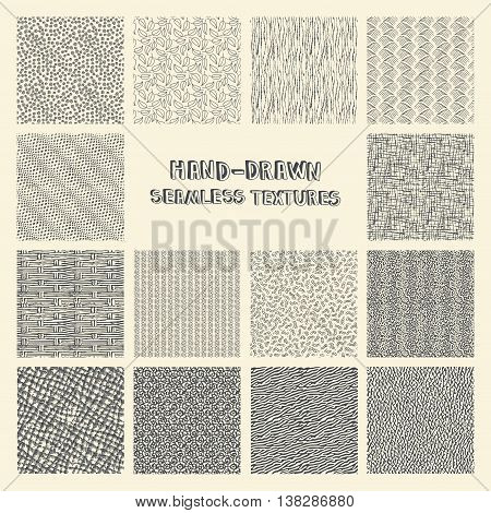 Set of hand drawn marker and ink seamless patterns